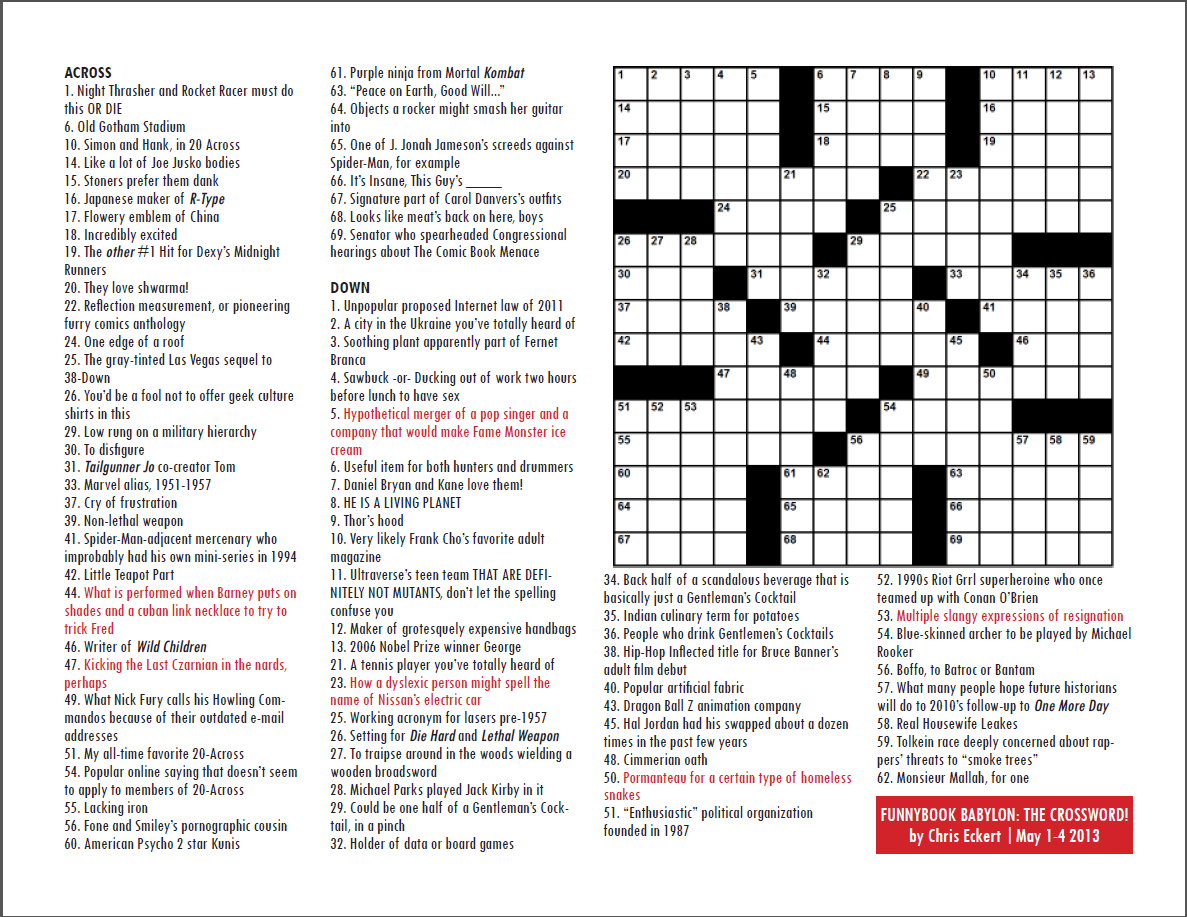Funnybook Babylon · Archives · Funnybook Babylon: The Crossword Puzzle!
